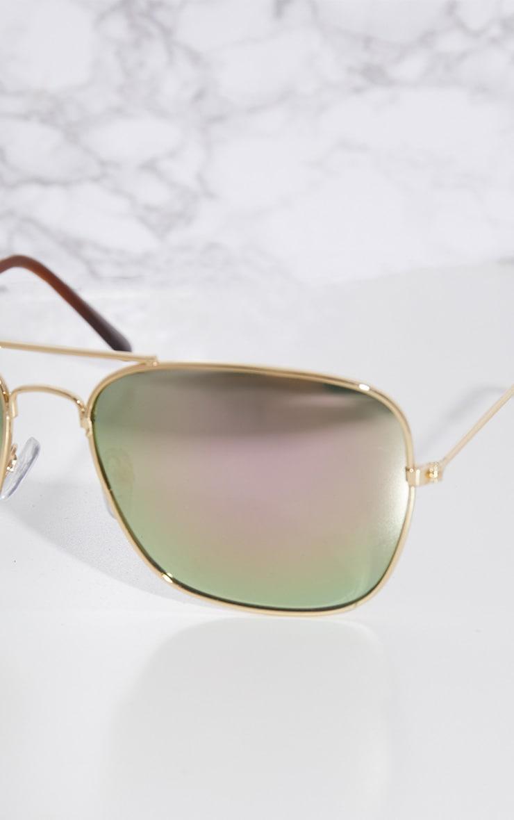 Pink Basic Square Metal Sunglasses 3