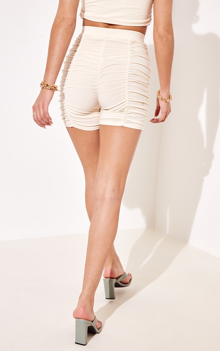 Cream Slinky Ruched Detail Cycle Shorts 3