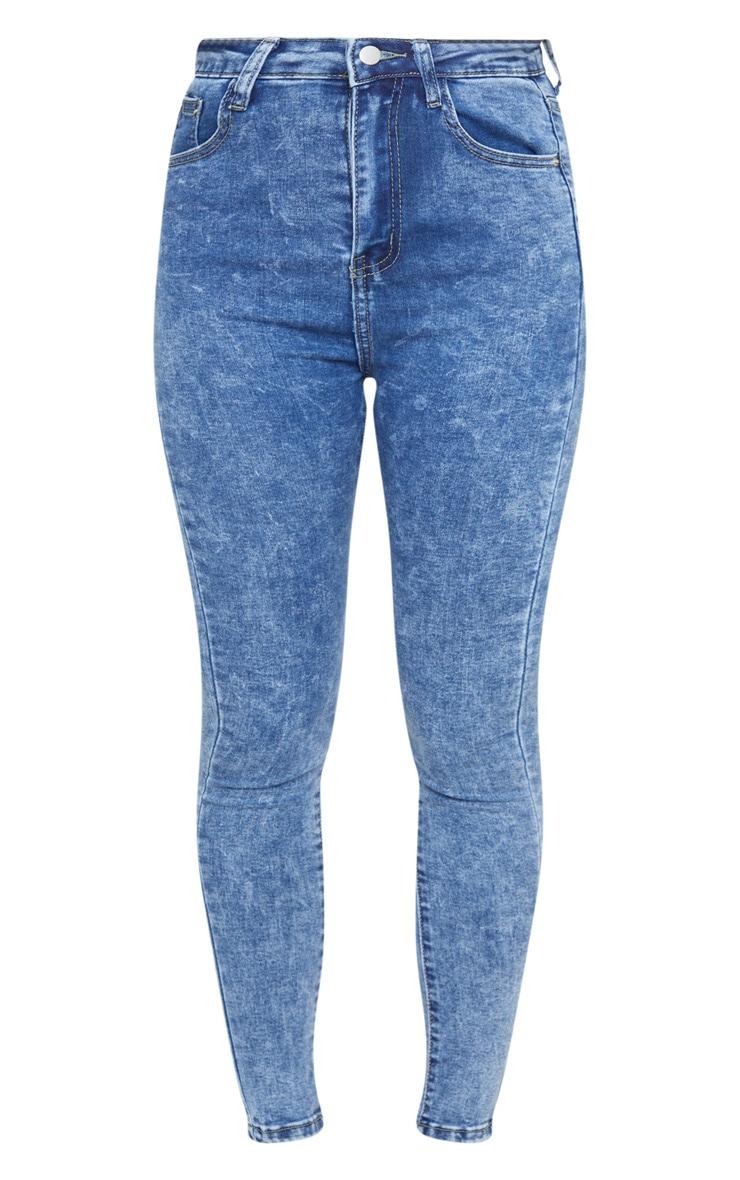 PRETTYLITTLETHING Mid Blue Acid 5 Pocket Skinny Jeans 3