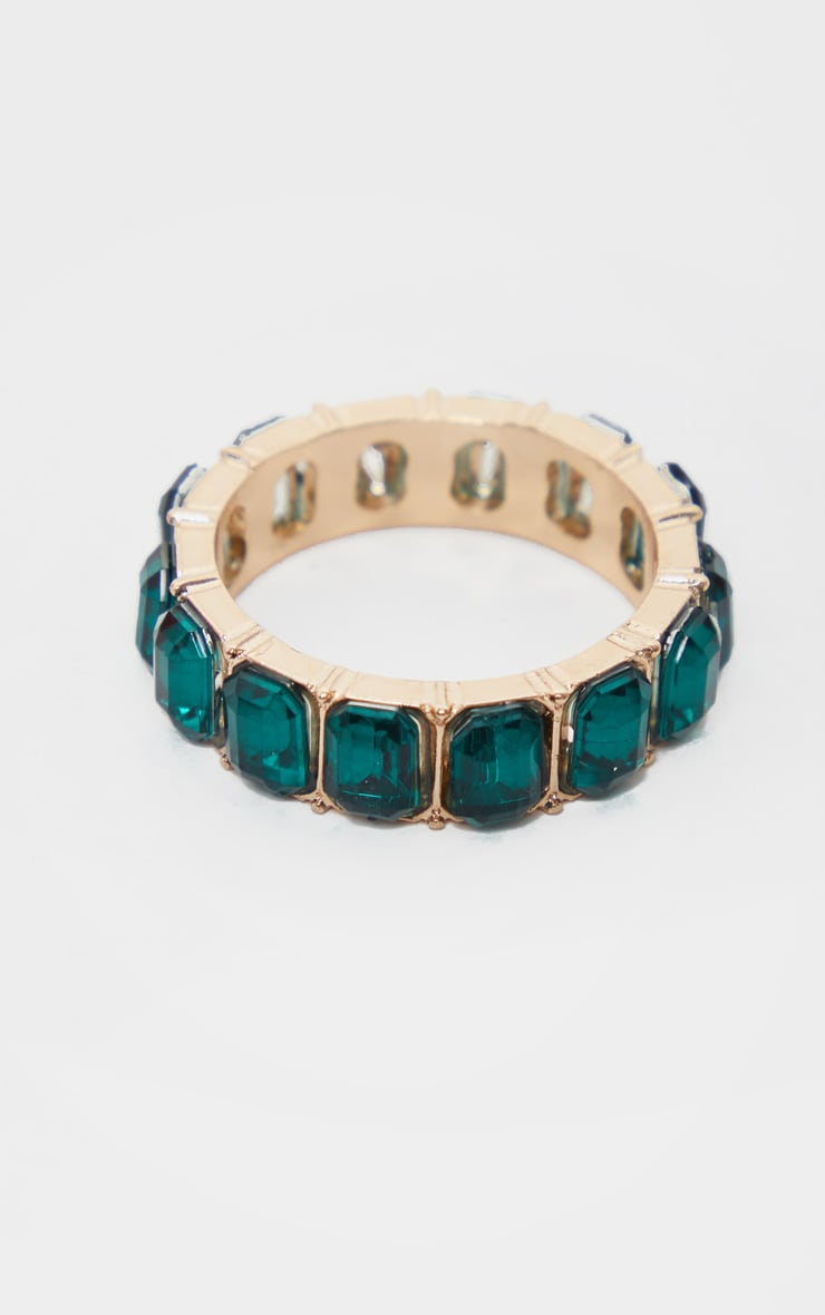 Emerald Green All Round Diamante Band Ring 3