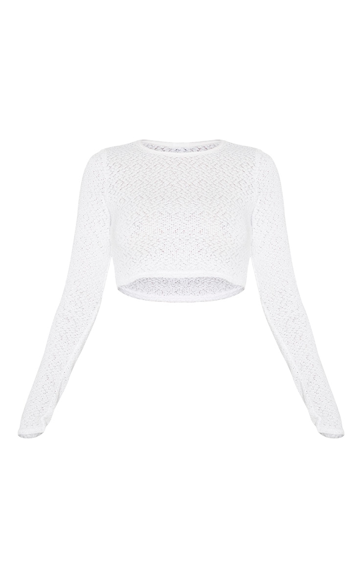 Tall Cream Soft Knit Long Sleeve Crop Top 3