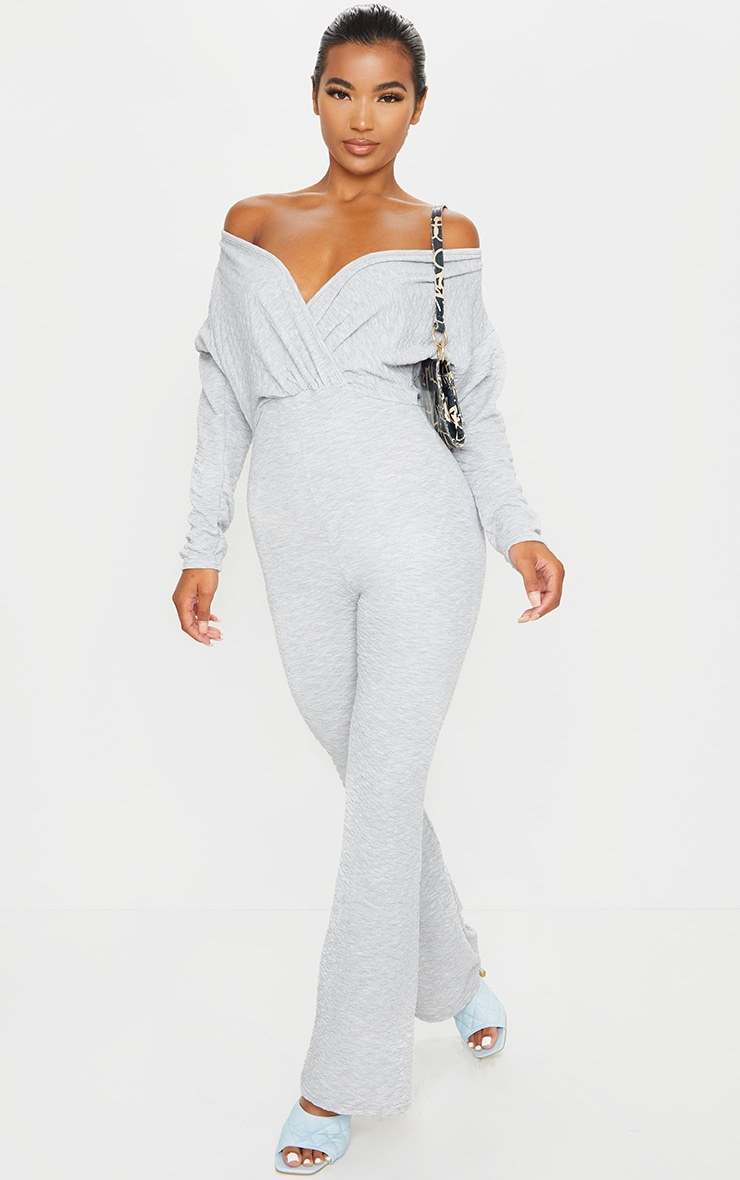 Grey Off Shoulder Wrap Waffle Jumpsuit 4