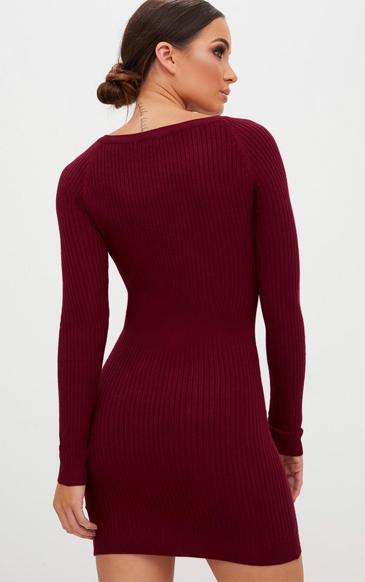 Burgundy Rib Lace Up Dress 2