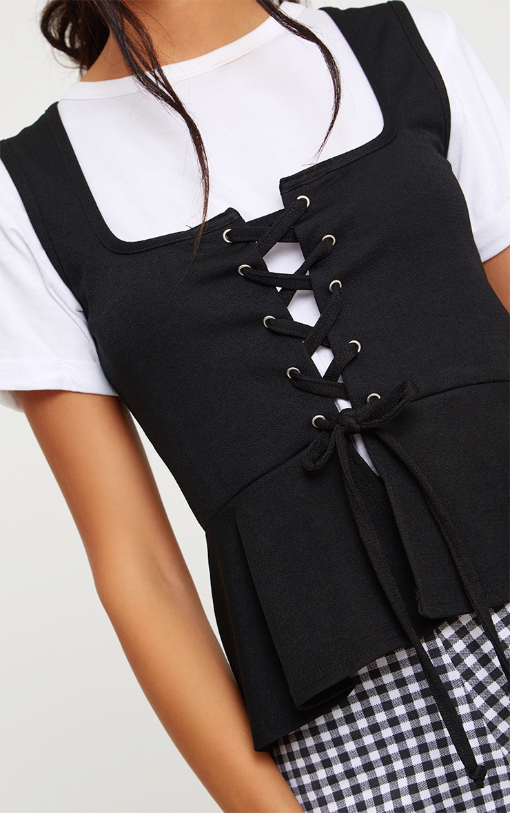 Black Lace Up Frill Top 4