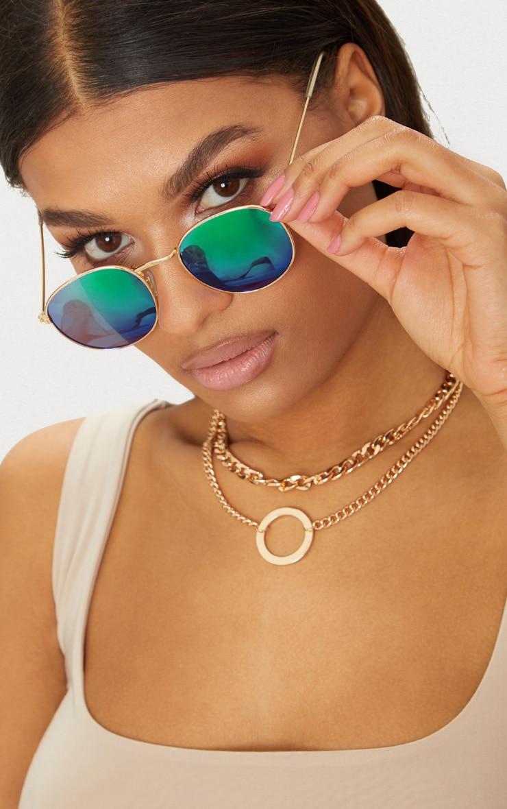 Green Metal Frame Round Retro Sunglasses 1