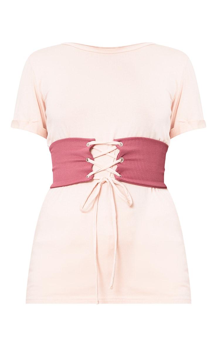 Petite Pink Jersey Corset T-Shirt 3