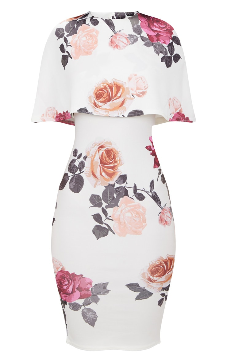 White Floral Print Cape Detail Midi Dress 3