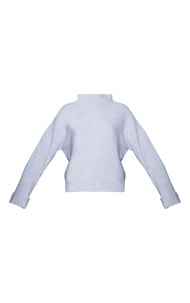 RENEW Light Grey Knitted Rib Turtle Neck Jumper 5