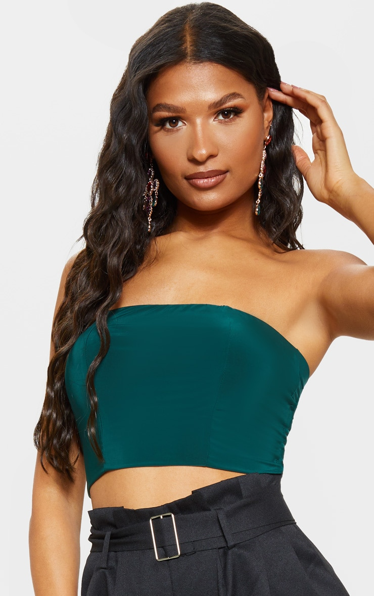 Helsa Dark Green Slinky Bandeau Crop Top 5
