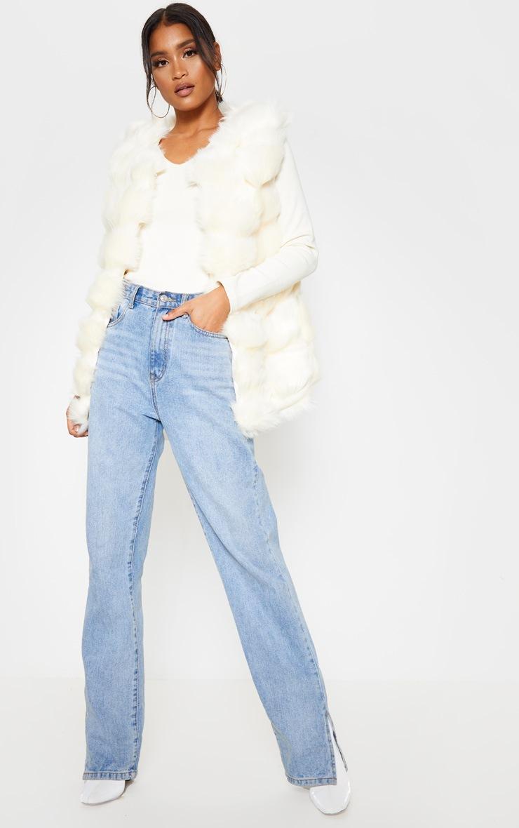 Cream Faux Fur Longline Gilet 5