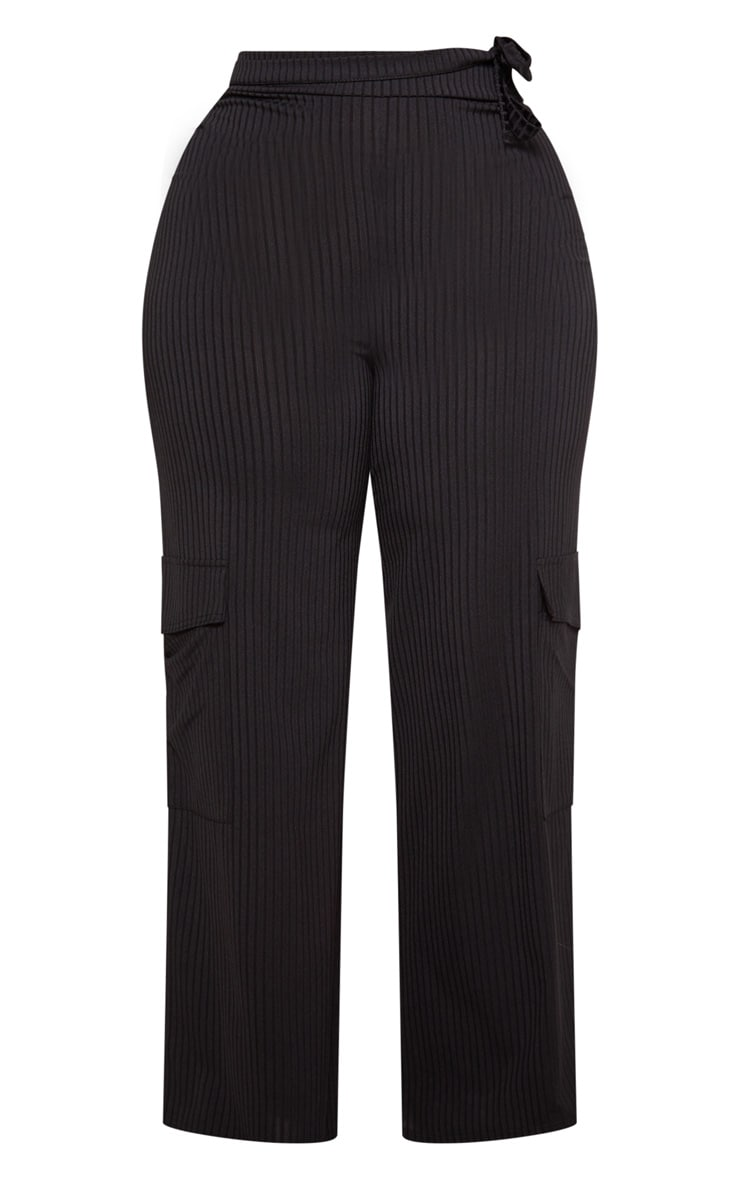 Plus Black Ribbed Pocket Detail Wide Leg Trouser 3