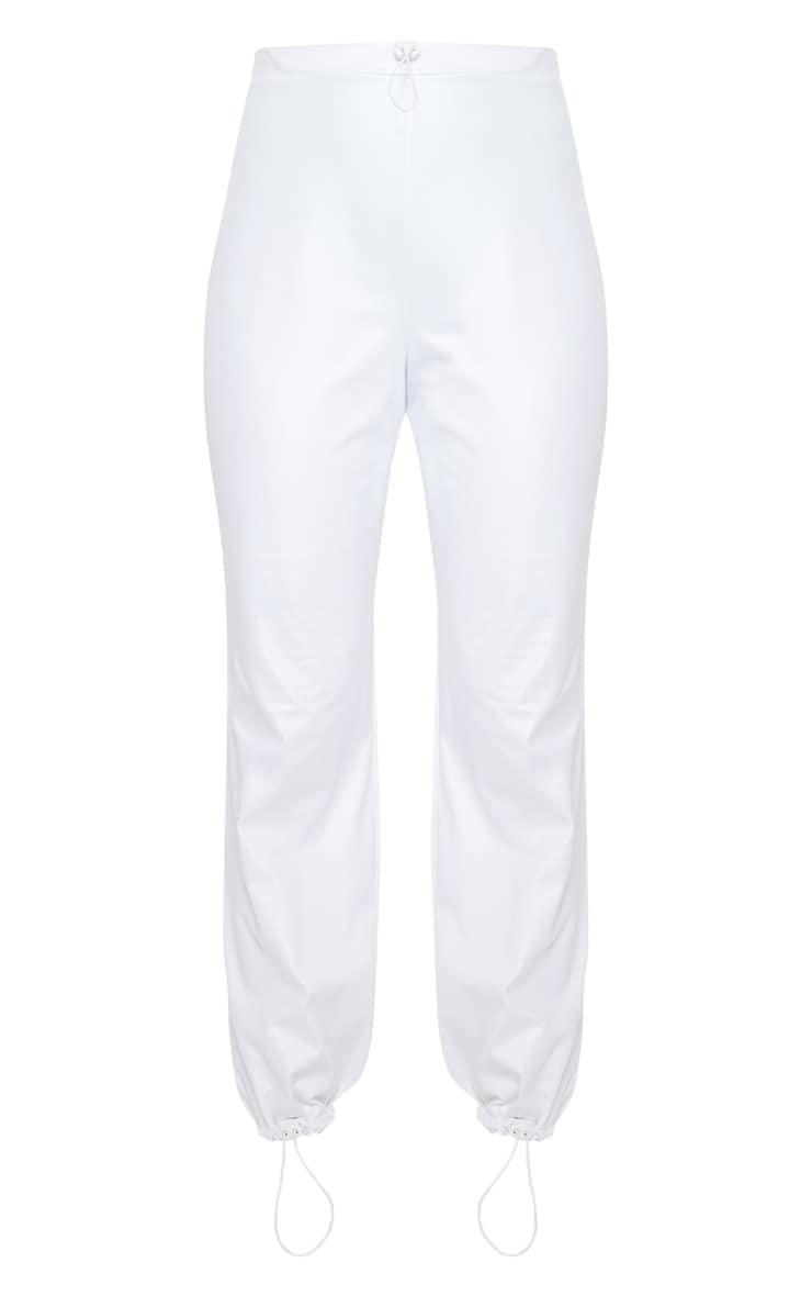 White Wet Look Toggle Detail Jogger 3
