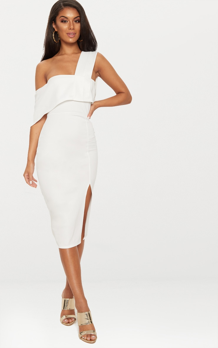 White Asymmetric Strap Split Detail Midi Dress  1