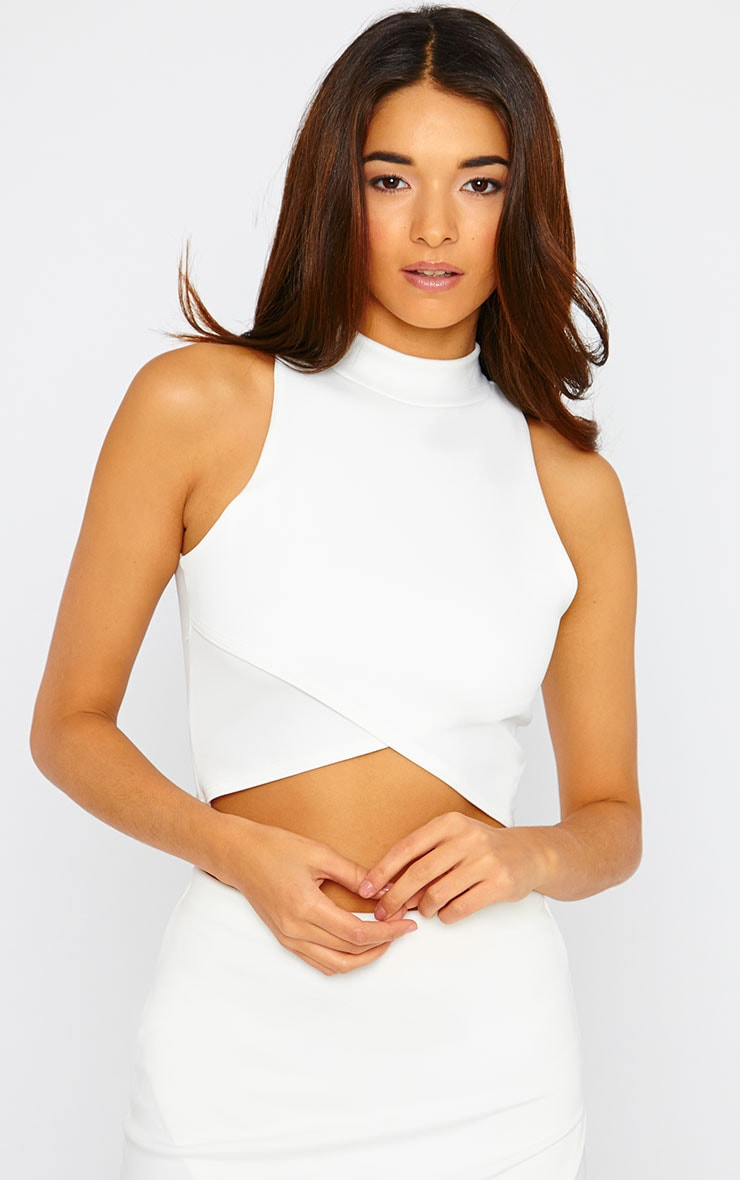 Lia Cream High Neck Wrap Crop Top 1