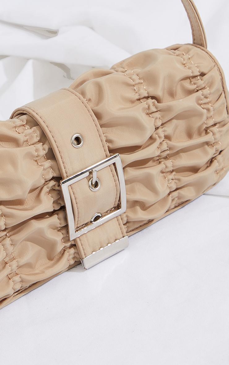 Beige Ruched Silver Buckle Shoulder Bag 4