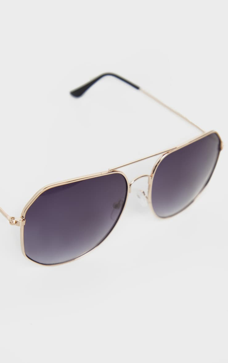 Gold Trim Slight Hexagon Aviator Sunglasses 4