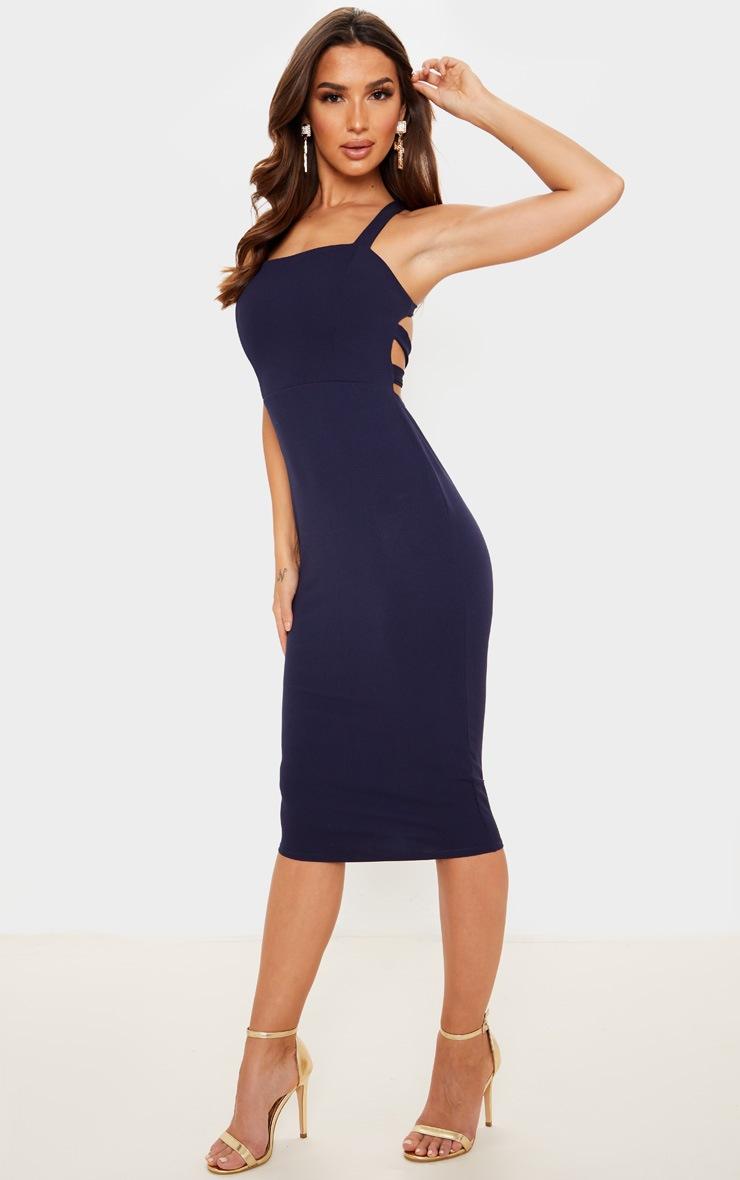 Navy Strappy Back Midi Dress 4