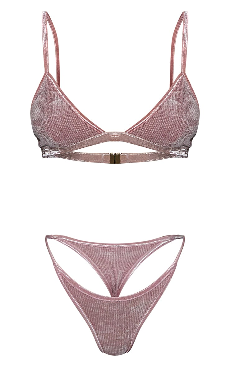 Pink Luxe Rib Velour Strappy Lingerie Set 5