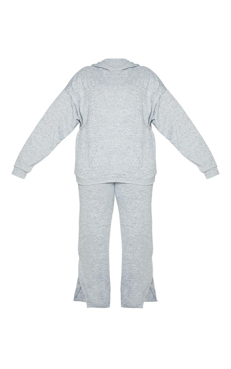Plus Grey Hoodie Wide Leg Lounge Set 5