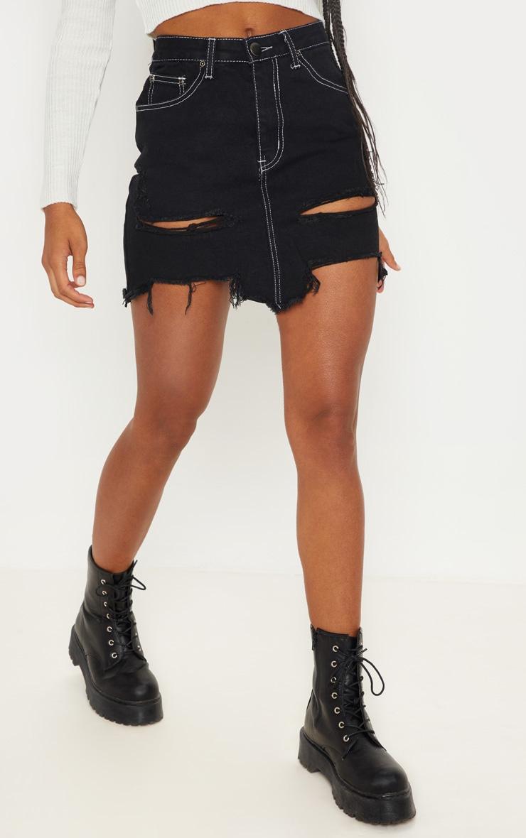Black Contrast Stitch Distressed Denim Mini Skirt 2