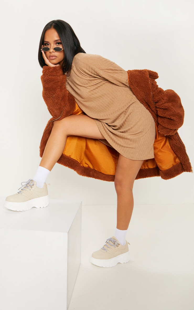 Camel Wide Ribbed Oversized Jumper Dress 4