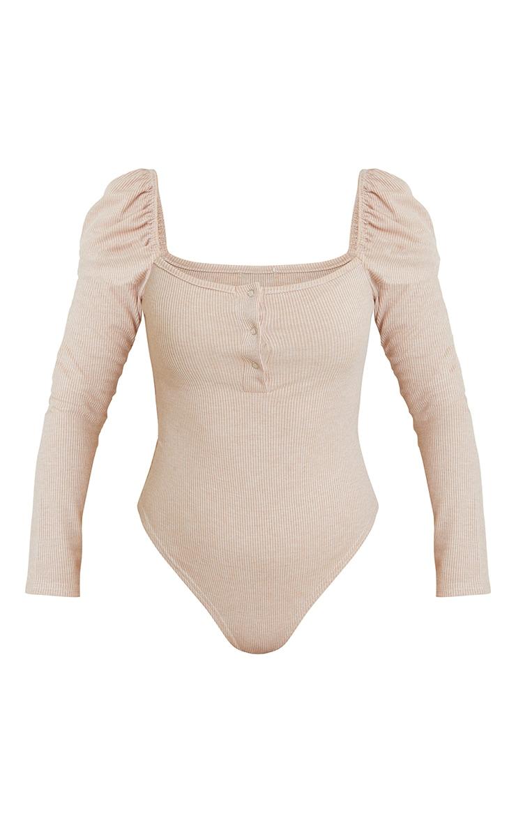 Beige Marl Rib Puff Long Sleeve Bodysuit 5