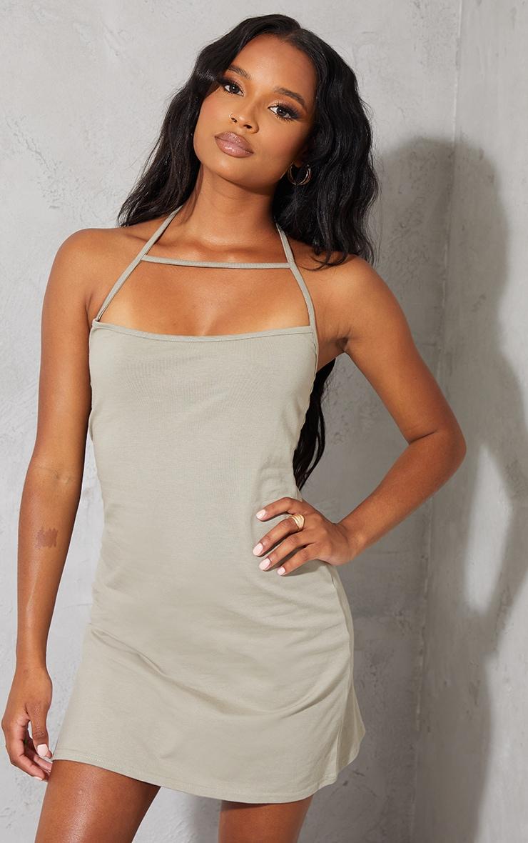 Light Khaki Multi Strap Halterneck Shift Dress 1