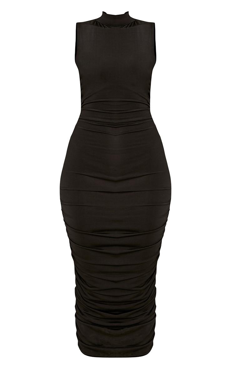 Black Sleeveless Ruched Detail Midi Dress 3