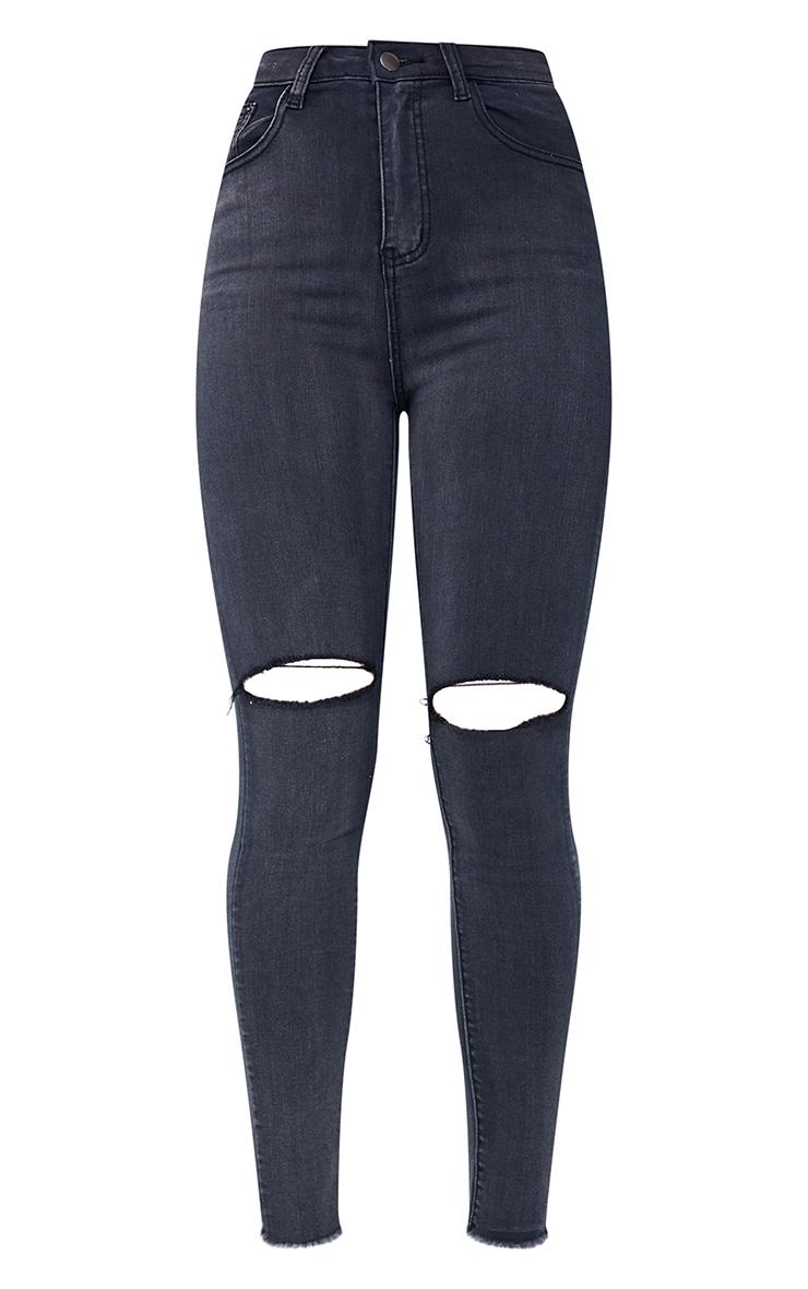 PRETTYLITTLETHING Washed Black Open Knee Raw Hem 5 Pocket Skinny Jean 5