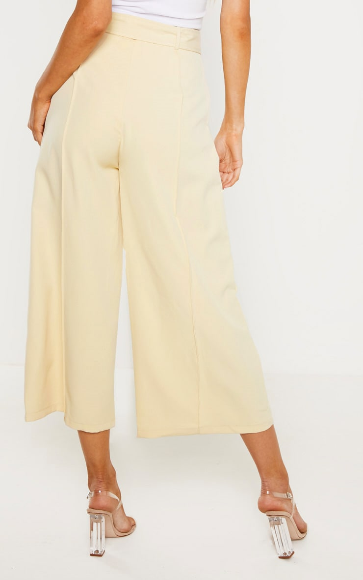 Tall Cream Circle Belt Wide Leg Culottes 4