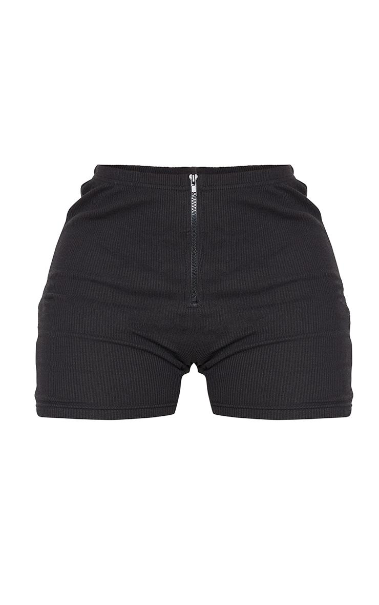 Shape Black Rib Zip Front Cycling Shorts 6