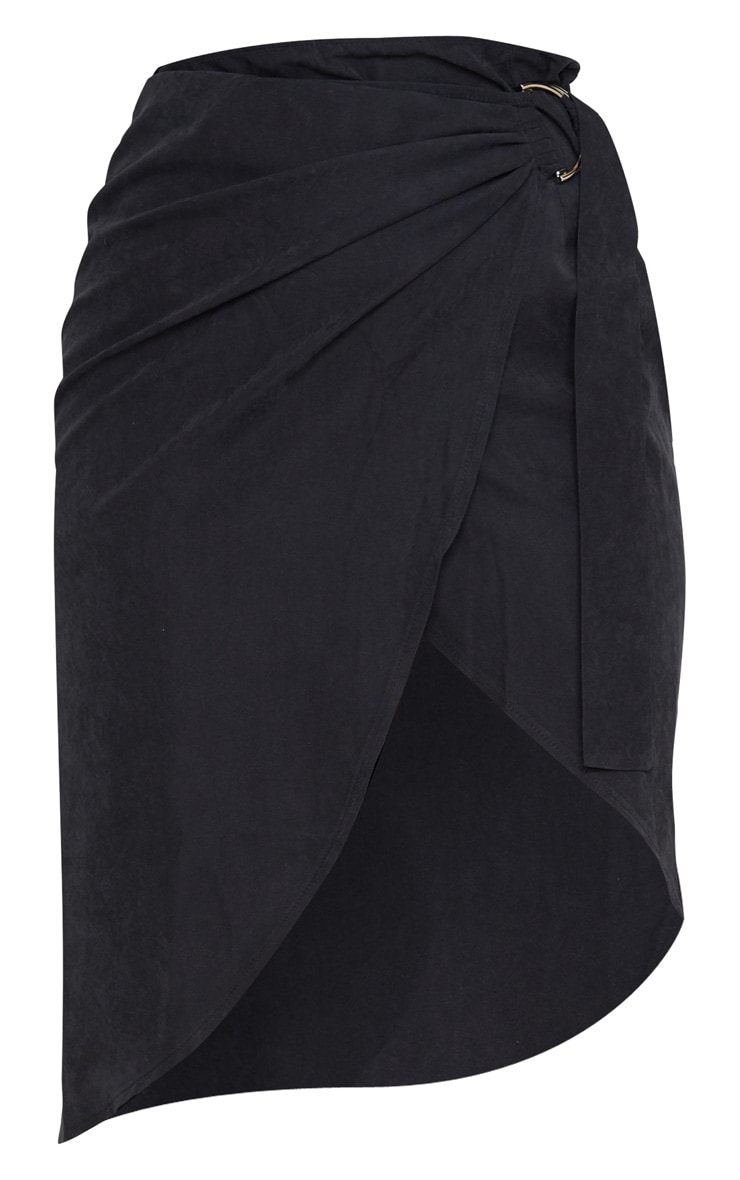 Black Faux Suede D Ring Wrap Midi Skirt 3