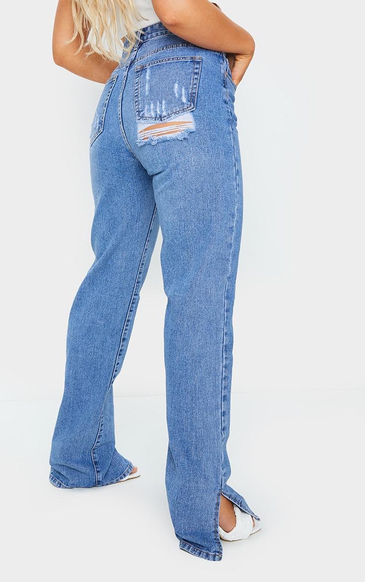 Mid Blue Wash Split Hem Jeans With Bum Distress 3