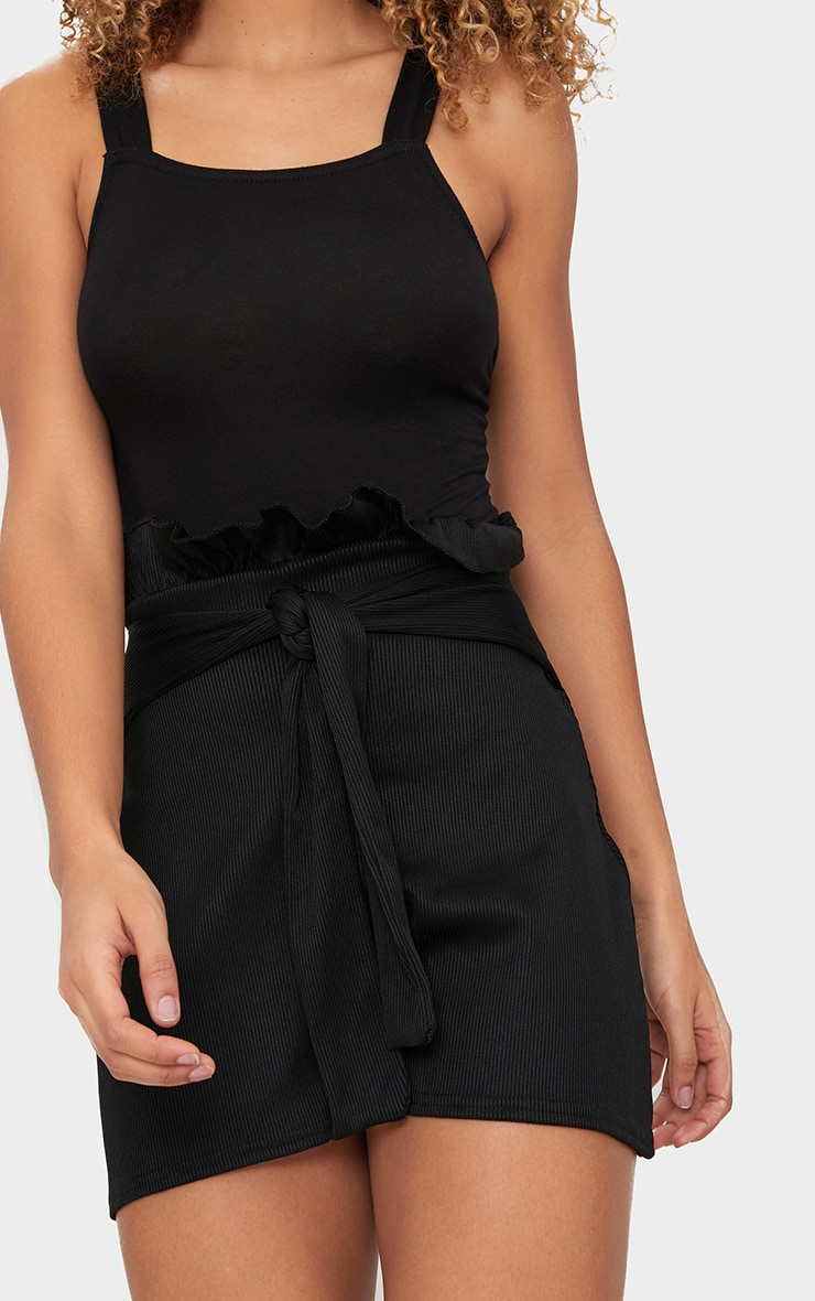 Black Ribbed Paperbag Shorts 6