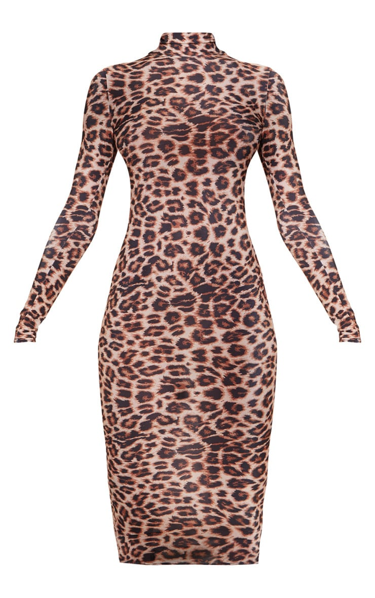 Tall Brown Leopard Slinky High Neck Midi Dress 3
