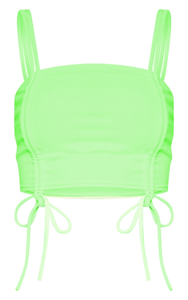Neon Lime Ruched Front Detail Strappy Crop Top 3