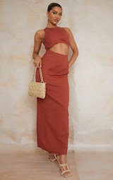 Burnt Clay  Linen Look Binding Strappy Tie Back Maxi Dress 2