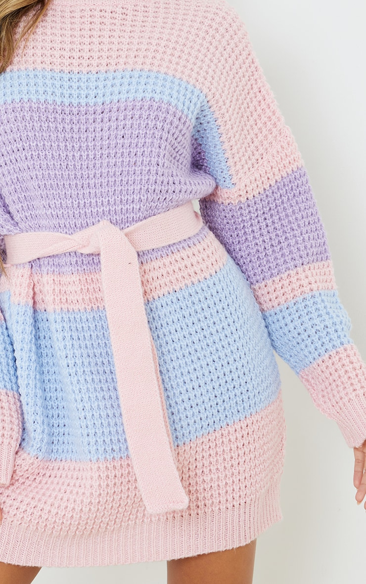 Lilac Colour Block Waffle Knitted Jumper Dress 4