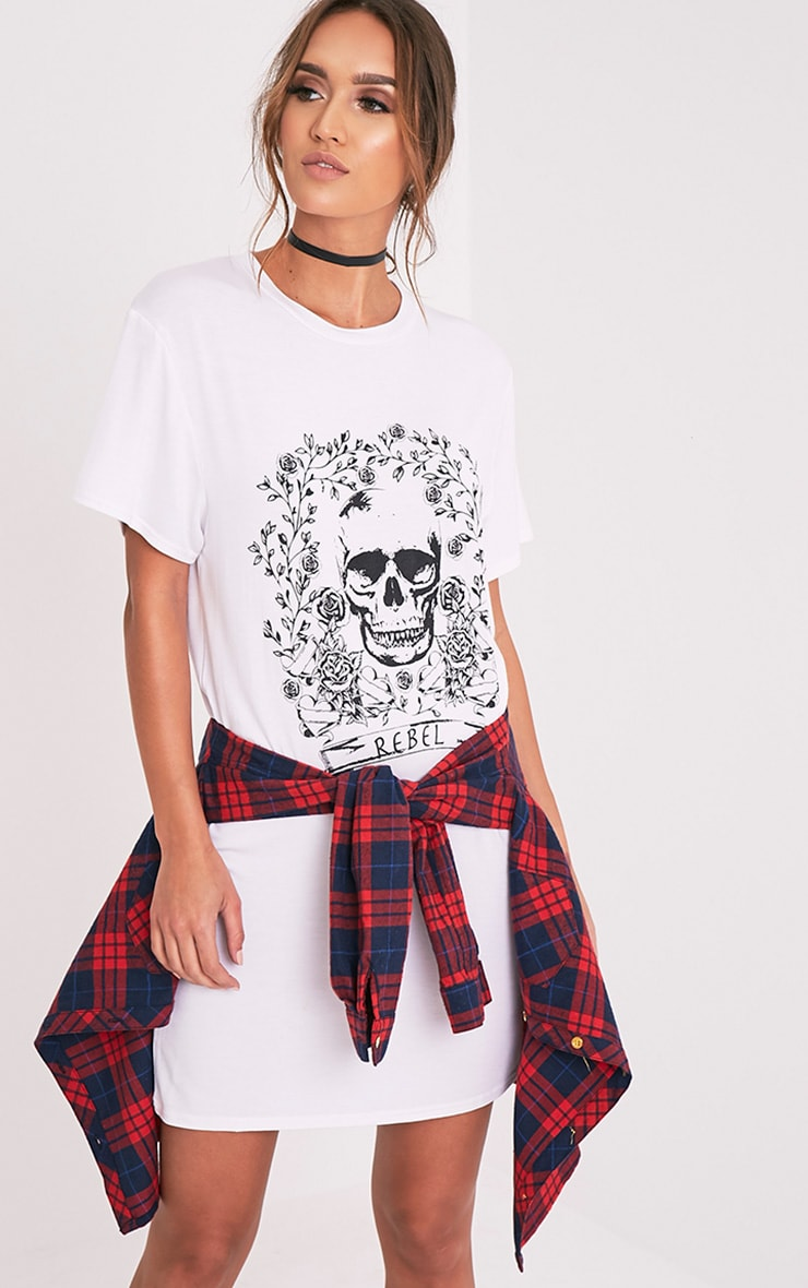 Rebel Skull White Printed T shirt Dress 1