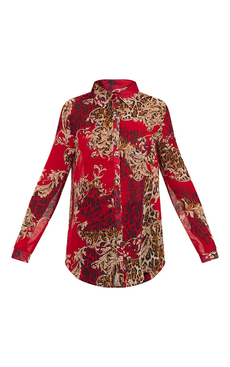 Red Baroque Print Chiffon Oversized Shirt 3