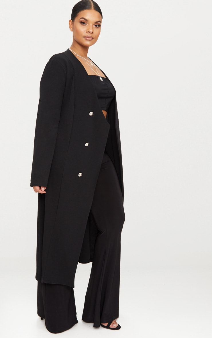 Plus Black Military Button Detail Duster Coat 4