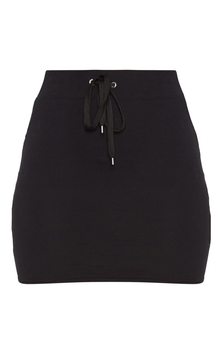 Black Cotton Drawstring Mini Skirt 3