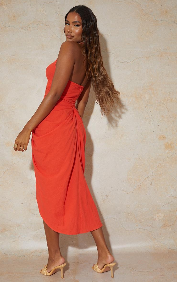 Red Textured Halterneck Ring Detail Gathered Skirt Midi Dress 2
