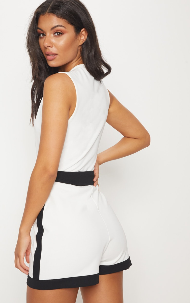 White Contrast Binding Playsuit 2