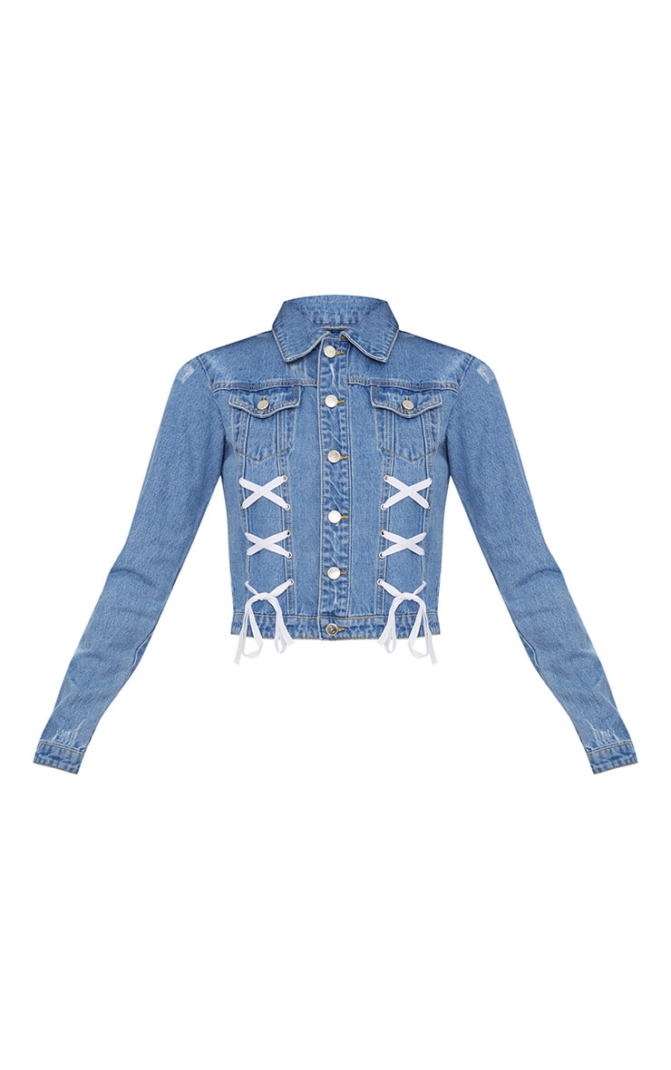 Mid Wash Contrast Lace Up Front Denim Jacket 3