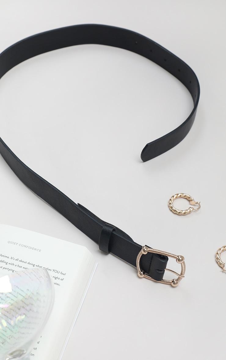 Black Pu Gold Textured Buckle Belt 4