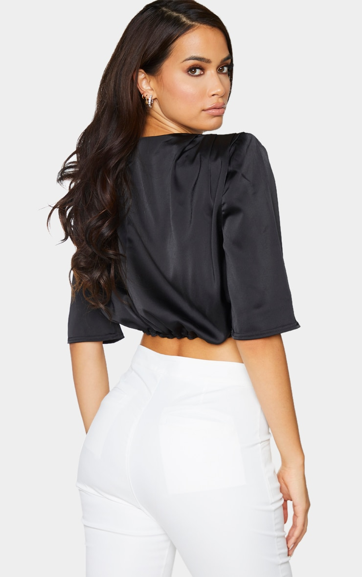 Black Satin Shoulder Pad Draped Sleeve Cropped Blouse 2