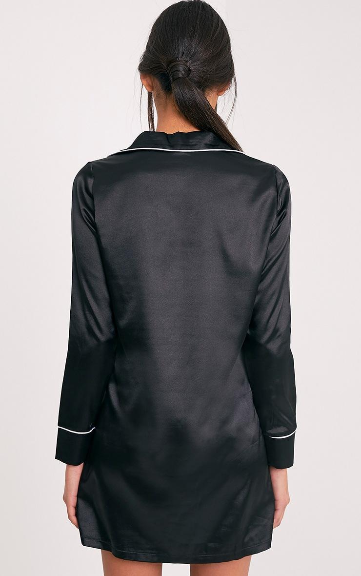 Maddison Black Satin Shirt Dress 2