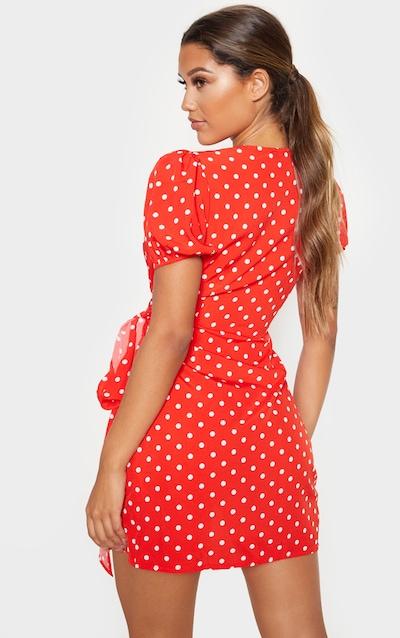 Red Polka Dot Tie Side Puff Sleeve Tea Dress