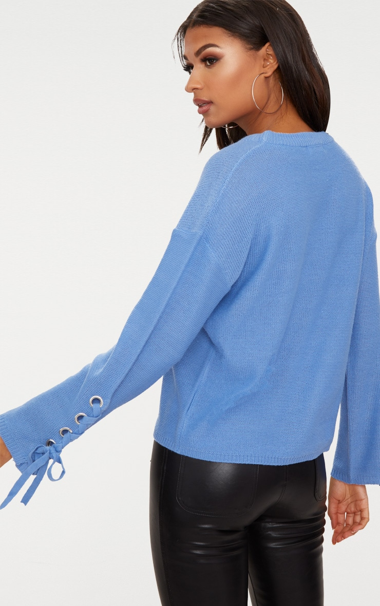 Blue Lace Up Sleeve Jumper 2